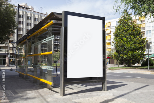 Blank billboard in a bus stop Poster
