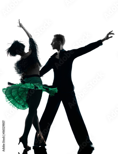 Poster, Tablou elegant couple dancers dancing silhouette