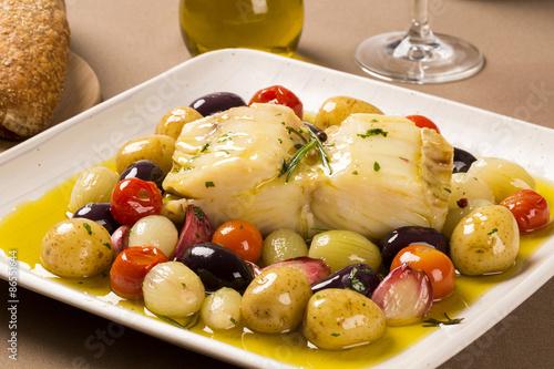 obraz PCV Typowe danie z dorsza portugalski nazywane Bacalhau do Porto