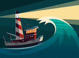 Tugboat during the storm with lighthouse on it. Vector illustration.