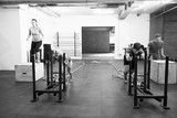 Fototapeta Black And White Shot Of People In Gym Circuit Training