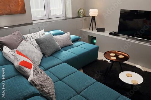 salon avec divan angle turquoise