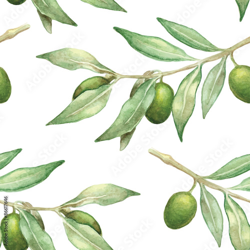 watercolor olive branch seamless pattern - 86617646