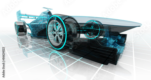 Fotobehang F1 formula car technology wireframe sketch perspective front view