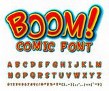 Fototapety Creative comic font. Vector alphabet in style pop art