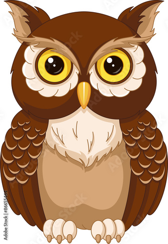 Foto op Aluminium Uilen cartoon Owl coloring page