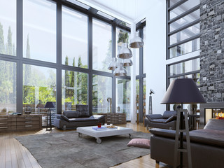 Two-storey modern living room with panoramic windows