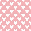 Tile cute vector pattern with white hearts on pastel pink background