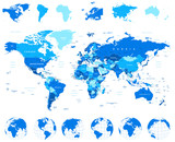 World Map, Globes, Continents - illustration.Highly detailed vector illustration of world map, globes and continents.