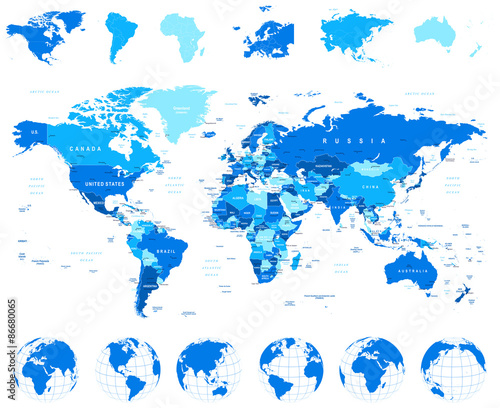 Постер, плакат: World Map Globes Continents illustration Highly detailed vector illustration of world map globes and continents  , холст на подрамнике