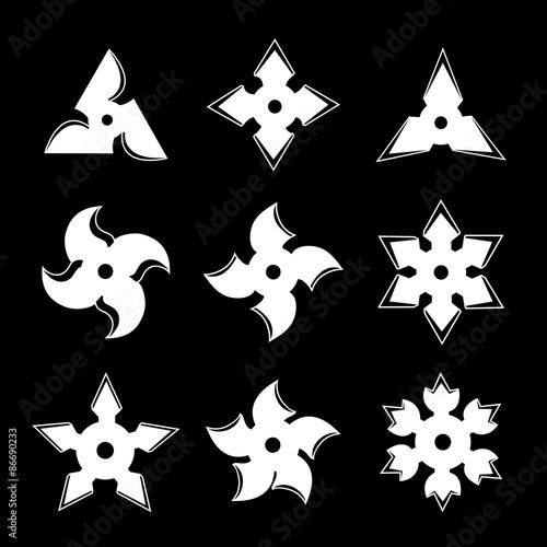 Ninja Stars Vector Ninja Stars Shuriken Icon Set