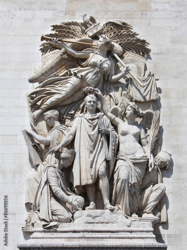 Poster Paris - Arc de Triomphe /  Le Triomphe de 1810 de Cortot