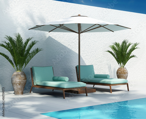 Sunbed lounge by the pool, summer holiday