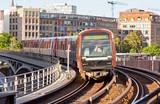 Train arrives at U-Bahn Station in Hamburg, Germany