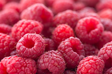 Ripe red raspberries. Very shallow depth of field. Large file size.