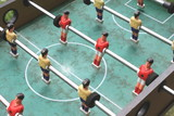 vintage table football closeup, foosball