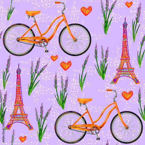 Materiał do szycia Seamless Paris French pattern with Eiffel Tower, bicycle, lavender flowers. Perfect for wallpapers, pattern fills, web page backgrounds, surface textures, textile
