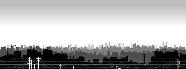 Panoramic view  of black and white city silhouette. © jackie2k