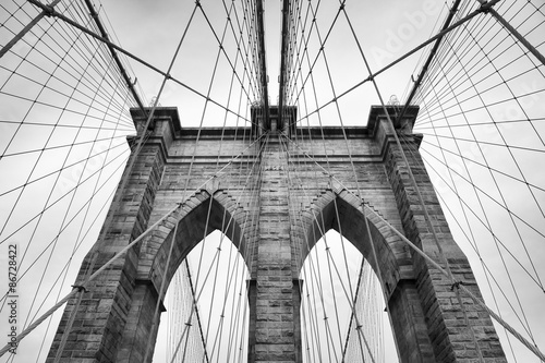 Aluminium Brooklyn Bridge Brooklyn Bridge New York City close up architectural detail in timeless black and white