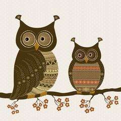 Cute stylized ornamental owls