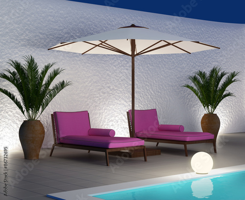 Purple sunbed lounge by the pool, summer holiday