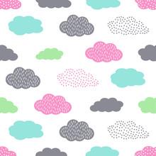 Kolorowe szwu z chmury dla dzieci święta. Cute baby shower tło wektor. Styl rysowania dla dzieci ilustracji.
