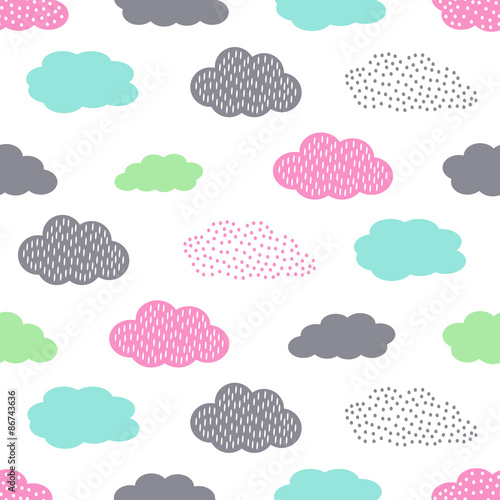 Cotton fabric Colorful seamless pattern with clouds for kids holidays. Cute baby shower vector background. Child drawing style illustration.