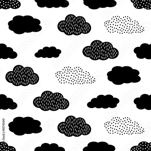 Materiał do szycia Black and white seamless pattern with clouds. Cute baby shower vector background. Child drawing style illustration.