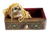 Still Life Skull and Tresure on white background poster