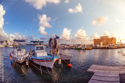 Foto op Plexiglas Cyprus Boats at Paphos harbor with the castle on the background. Cyprus