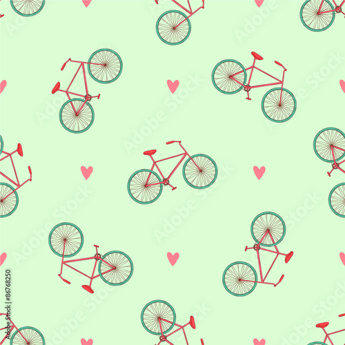 Cotton fabric Bicycle seamless vector pattern with hearts.