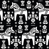 Swedish folk art Dala or Daleclarian horse seamless pattern on black  - 86772025