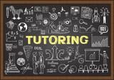 Fototapety Doodles about tutoring on chalkboard.
