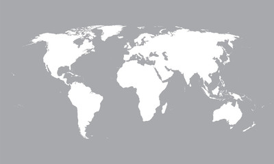white vector map of the world