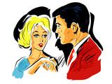 Fototapety pop art couple une femme et un homme qui se serre la main,rencontre...