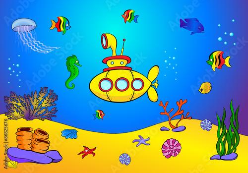 Yellow submarine and fish under water. Seahorse, jellyfish, cora