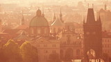 Beautiful Panoramic View of Prague Cityscape with Distinctive Architecture Landmarks on Misty Morning, Vintage Retro Tone Effect poster
