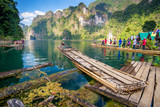 Bamboo rafting on river,