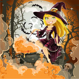 Witch with potion in the pot sits in the cemetery on Halloween n