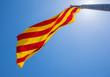 Obrazy na płótnie, fototapety, zdjęcia, fotoobrazy drukowane : Catalan Republic flag in Montjuic Castle fortress on Jewish Mountain in Barcelona, Spain