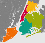 Boroughs of New York City - outline map. poster