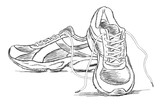 Handmade Sneakers Sports Shoe Vector Sketch Illustration