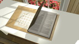 Insert a verse or Scripture into this 3D animation of a bible opening up on a table in a sunroom. The camera zooms in a section of a page, serving as a background for your text.  poster