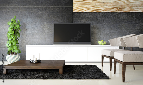 Living Space with Stylish Wall