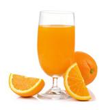 Fototapeta Orange juice and orange isolated on white background
