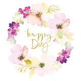 Fototapety Watercolor greeting card flowers.