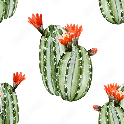 Cotton fabric Watercolor cactus pattern