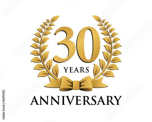 anniversary logo ribbon wreath 30