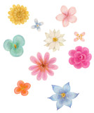 Fototapety カラフルな水彩画の花フレーム Watercolor of colorful flowers