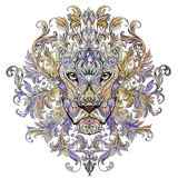Tattoo, graphics head of a lion with a mane - 86931843